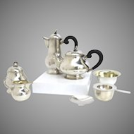 Sterling 925 Tea Set Coffee Set Swiss c 1924 Shell Finial