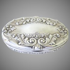 Tiffany Sterling Silver Oval Repousse Dresser Box 19th Century Signed Gilt Interior