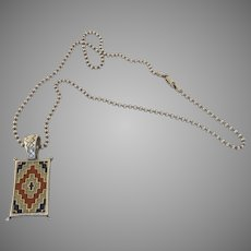 Vintage Carolyn Pollack Relios, Inc. Sterling 925 Native American Rug Pendant Necklace