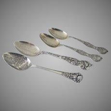 Four (4) Sterling Souvenir Spoons c 1912 South Dakota Iowa