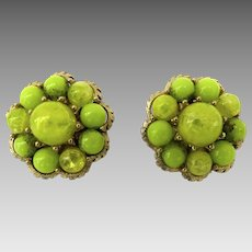 Vintage Pair Lime Green Clip Earrings Patent