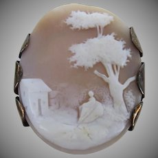 Vintage Cameo Scene Woman Tree House Clip Bezel Oval