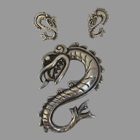 Large Vintage Serpent Doris Smith Silver Mexico Mexican Belt Buckle Earrings