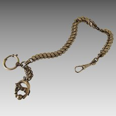 1900's Watch Fob Chain Horse Horse Shoe Lucky Gold Filled
