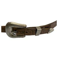Vintage Don Ricardo Sterling Belt Buckle Set Tooled Leather Western 19th Century