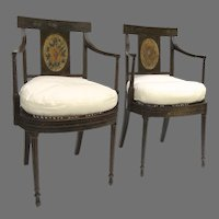 Pair of Hepplewhite Painted Arm Chairs c 1790  CH.1086
