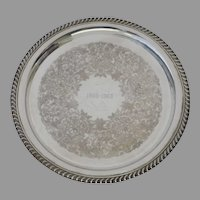 Vintage 1960's Round Silverplate Tray