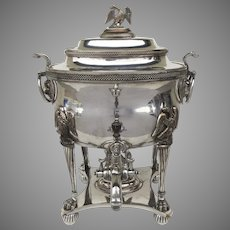 1825-1830 Sheffield Fused Plate Hot Water Coffee Urn Lidded Lion Mask