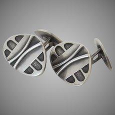 Pair of Mid Century Modernist Brutalist Silver 800 Fineness Poland Polish Maker's Mark Cufflinks