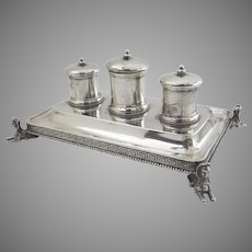 Egyptian Revival Inkstand Sterling Silver Boston Sterling Gale, Snow & Co.