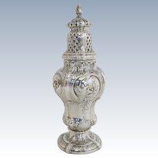 French 19th Century Rococo Style Silver Hallmarked 950 Sugar Castor Shaker Muffineer