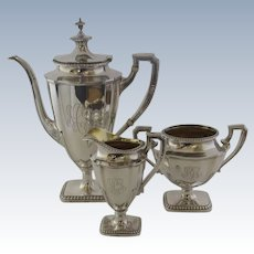 Vintage Sterling Reed and Barton St. George Tea Coffee Set Service Three (3) Pieces Retailed J. E. Caldwell & Co.