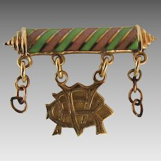 Vintage Enamel Gold Monogram Lapel Pin Club Fraternity Sorority Pink Green