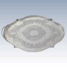 Vintage Silver Plate Gallery Edge Shaped Tray
