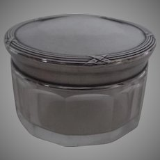 Small 1900's Century French Silver Glass Dresser Jar Hallmarked