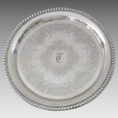 "Vintage Older International Silver Co Wilcox Brandon Hall 10"" Silverplate Tray Engraved"