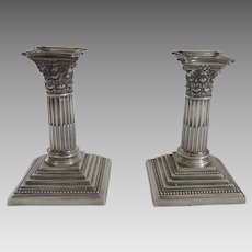 Pair English STERLING SILVER Candlesticks Corinthian Columns Candle Holders Harrison Brothers & Howson c 1926
