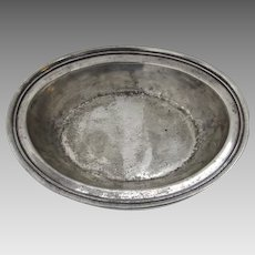 Vintage Pewter Oval Serving Bowl with Delicate Beaded Edge