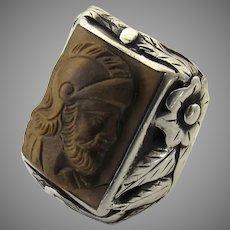 Sterling Silver Men's Ring Tiger Eye Roman Spartan Soldier
