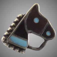Zuni Horse Head Pin Tortoise Shell Inlay Lapel Tie c 1940