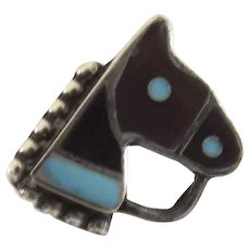 Zuni Horse Head Pin Tortoise Shell Inlay Lapel Tie c 1940