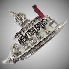 Vintage Silver Tone New Orleans Riverboat Charm Enamel