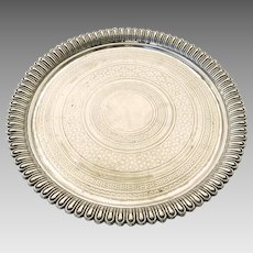 19th Century Silver Plate Engine Turned Salver Tray