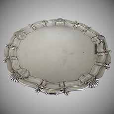 Vintage Large Round Chippendale Style Silver Plated Tray by Barker Ellis Menorah Mark England