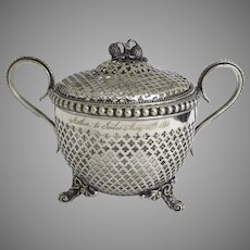 Mid 19th Century Silver Plated Candy Bowl with Lid Pierced Glass Liner Footed Vase