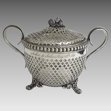Mid 19th Century Silver Plated Candy Bowl with Lid Pierced Glass Liner Footed