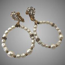 """Vintage Miriam Haskell Large Loop Drop Rhinestone Earrings """"Au Courant"""""""