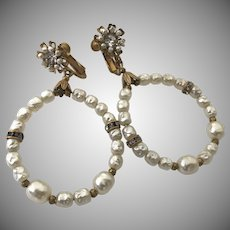 "Vintage Miriam Haskell Large Loop Drop Pearl Rhinestone Earrings ""Au Courant"""
