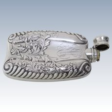 1900 All Sterling Silver Art Nouveau Flask by Gorham