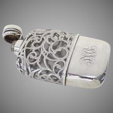 J. E. Caldwell Sterling Silver Overlay Large Flask c 1900's