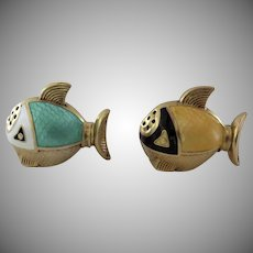 Vintage Mid Century Enamel Guilloche Gold Plated Sterling Salt and Pepper Made in Norway Norwegian