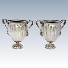 Pair of Silver Plated Wine Coolers by Elkington, Rams Head Handles