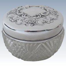 Vintage Sterling Silver Glass Dresser Box Jar by Blackinton