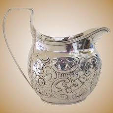 18th Century English  Sterling Silver Cream Pitcher Hallmarked