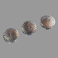 Group of Three (3) Vintage Sterling Silver Button Covers Southwest Motif