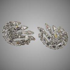 Vintage Kramer Rhinestone Earrings Signed