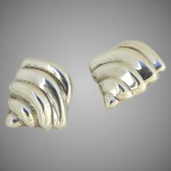 Vintage Sterling Shell Shaped Earrings Made in Mexico