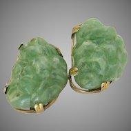 Vintage Aux Green Jade Resin Nugget Clip Earrings