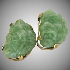 Vintage Aux Green Jade Resin Nugget Clip Earrings