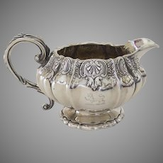 19th Century English Silver Creamer by William Eley II Armorial Family Crest
