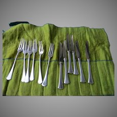 Set of 6 Fruit Knives and Fork 800 Silver 19th Century