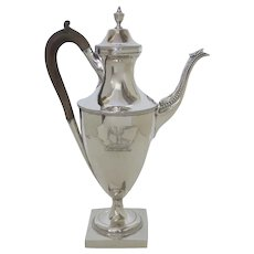 Sterling Silver English George III Coffee Pot by Benjamin Mountigue c 1786 Armorial Family Crest
