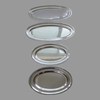 19th Century French Silver Hallmarked Set of Four (4) Oval Platters