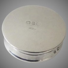 English Sterling Silver Patch Box by Birmingham Gold Wash Interior E. S. Barnsley