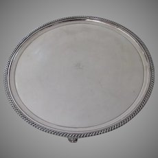 Large Round Salver Tray English Fused Plate Old Sheffield Gadrooned Edge Lion with Laurel Leaf Wreath Crest Armorial
