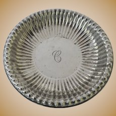 """Vintage Sterling Silver Small Ribbed Bowl Engraved """"C"""""""
